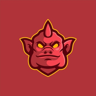 Teufelskopflogoschablonenillustration. esport logo spiel premium-vektor