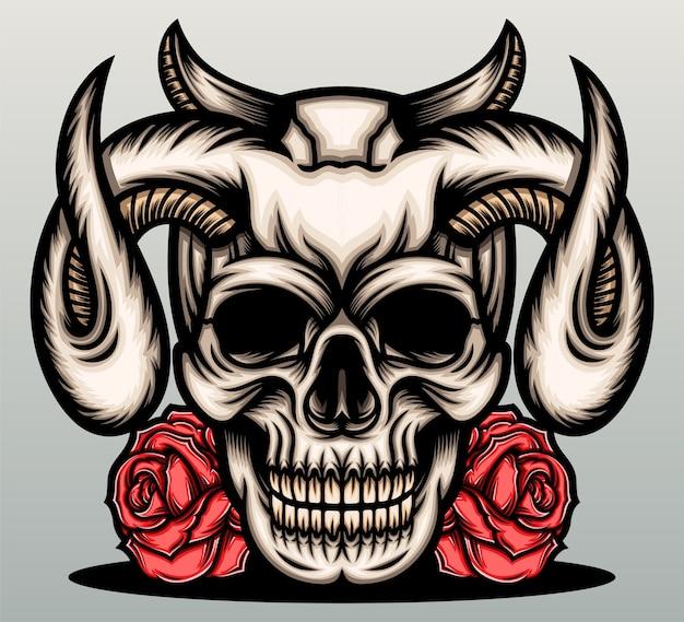 Teufelsschädel mit roter rose.