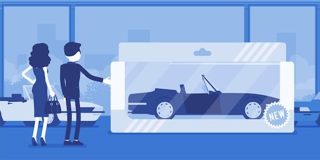 Teures spielzeug für eine frau. weibliche person, die mit einem verpackten auto zur unterhaltung beschenkt wurde, ein echtes fahrzeug in einer geschenkbox aus dem autohaus, eine autounterhaltung zum spielen und fahren. vektor-illustration