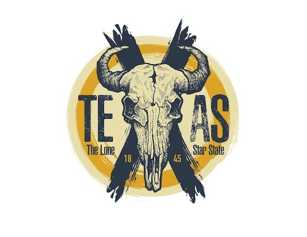 Texas büffel tee druckgrafik.