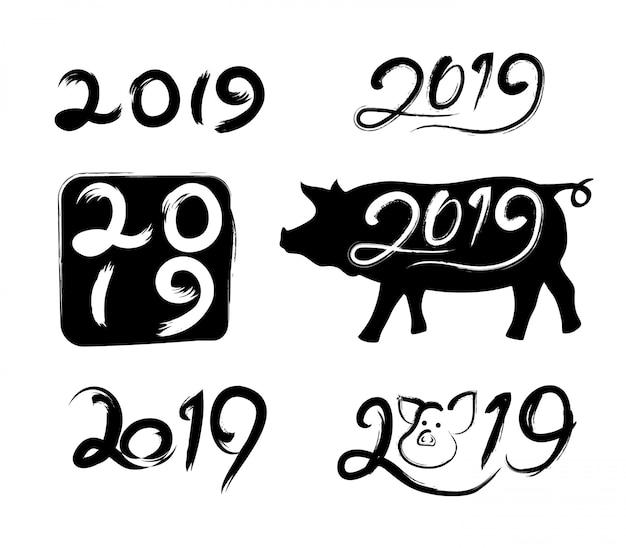 Text 2019 im traditionellen tintenpinsel