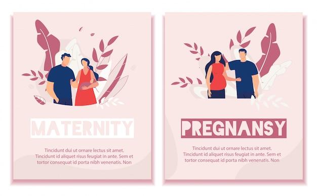 Text banner set werben schwangerschaft und mutterschaft