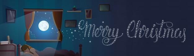 Text der frohen weihnachten im fenster vom schlafzimmer mit schlafender mädchen-winterurlaub-fahne
