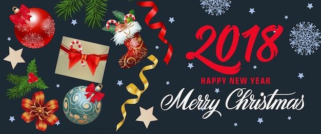 Text der frohen weihnachten mit feiertagssymbolen