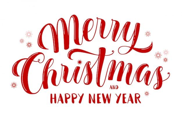 Text der frohen weihnachten und des guten rutsch ins neue jahr, schöne beschriftung für grußkarte