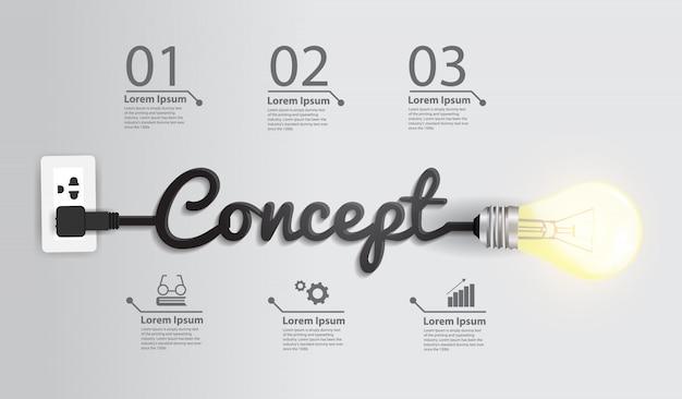 Text-design der glühlampe-ideenzusammenfassung des vektors kreatives