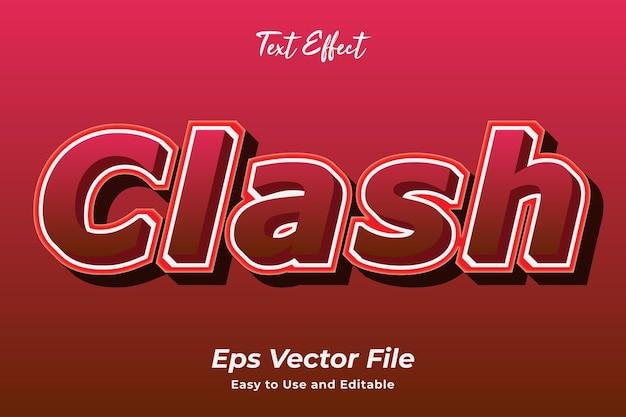 Text effect clash einfach zu bedienen und bearbeitbar premium-vektor