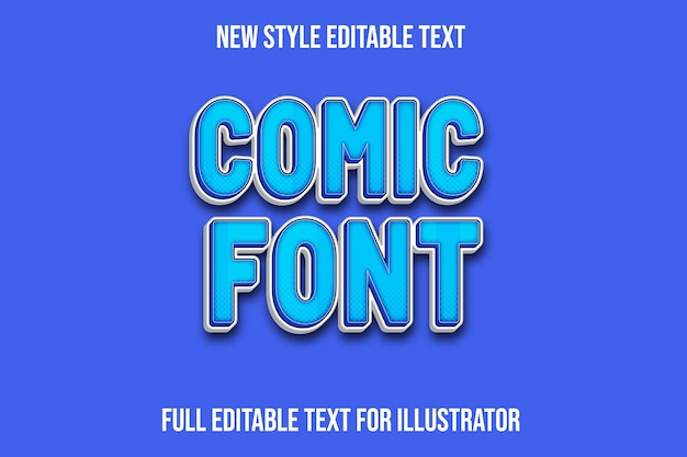 Text-effekt 3d comic schriftfarbe blau und weiß farbverlauf