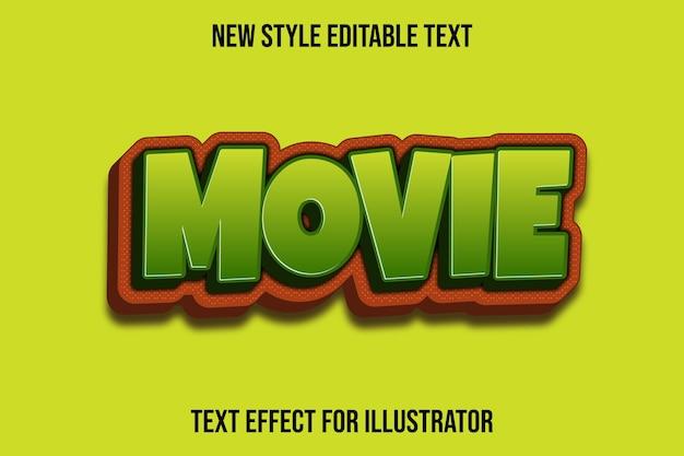 Text effekt 3d film farbe grün und braun farbverlauf