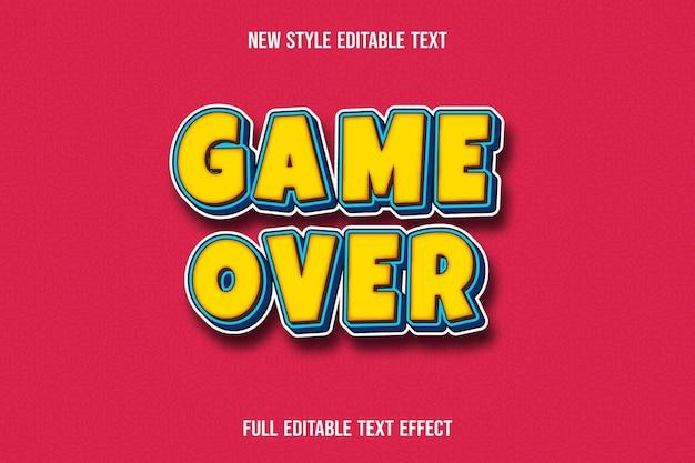 Text-effekt-3d-spiel über farbe gelb und blau