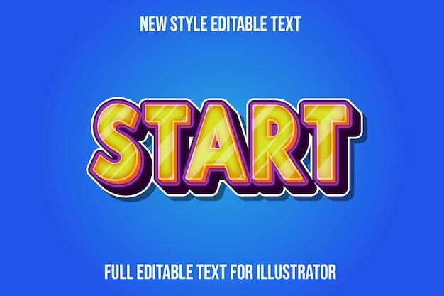 Text effekt 3d startfarbe gelb und lila farbverlauf Premium Vektoren