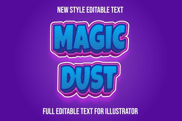 Text effekt magische staubfarbe blau und rosa farbverlauf Premium Vektoren