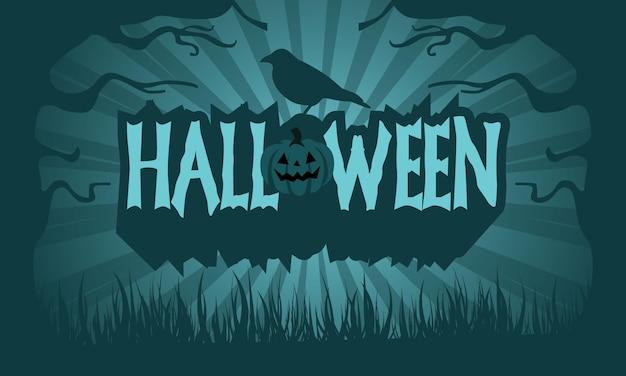 Text happy halloween mit kürbissen