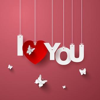 Text ich liebe dich mit schmetterling auf rosa hintergrund