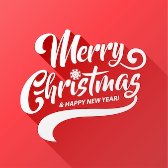 Text-kalligraphische beschriftung der frohen weihnachten lange schattendesign-kartenschablone