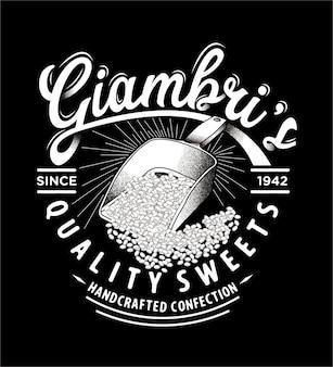 Text-typografiezeichnung der süßigkeit retro