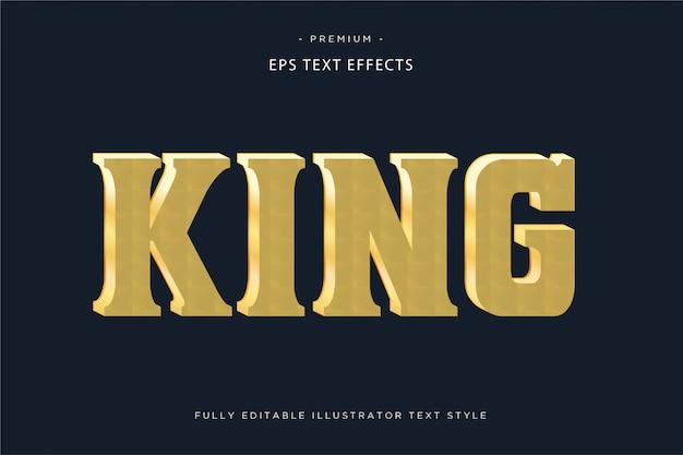 Textart des goldenen texteffektes 3d königs