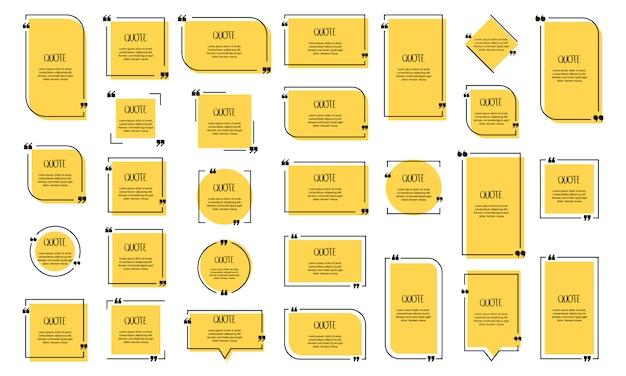 Textblase zitieren. kommas, notiz, nachricht und kommentar. illustration.