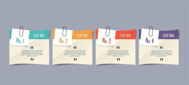 Textbox-design mit briefpapier-aufkleber-design-element