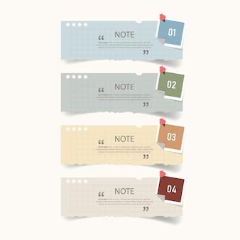 Textbox-design mit notizpapier-modellen