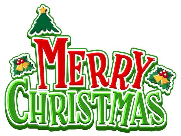Textdesign der frohen weihnachten auf weißem hintergrund