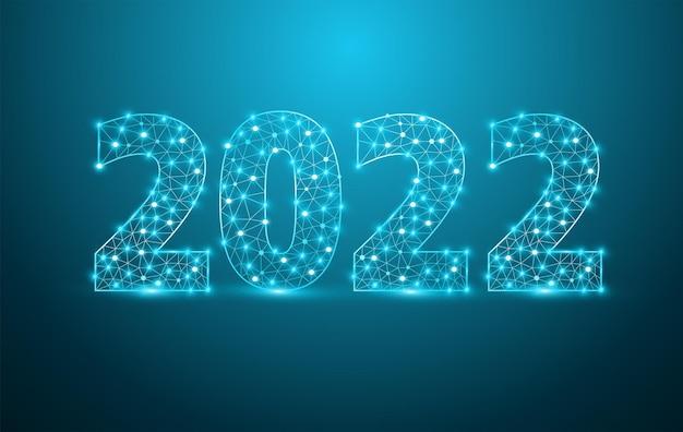 Textdesign des neuen jahres 2022 mit stylischen alphabet-buchstabenzahlen, grafischer hintergrundkommunikationsstruktur mit verbundenen punktlinien, vektorillustration