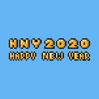 Textdesign des pixelkunstguten rutsch ins neue jahr 2020.
