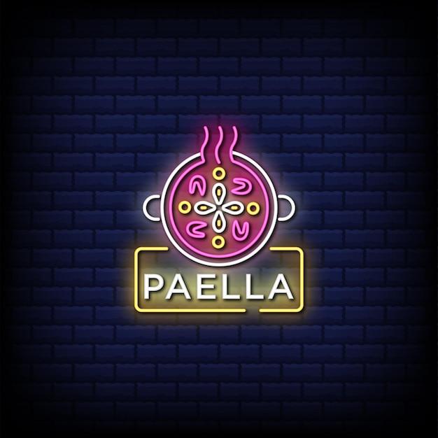 Textdesign des spanischen paella-zeichenstils