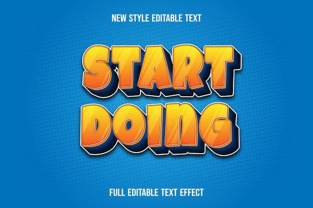 Texteffekt 3d beginnen, farbgelb und blauen farbverlauf zu tun Premium Vektoren
