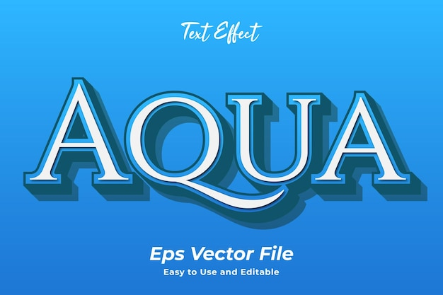 Texteffekt aqua einfach zu bedienen und bearbeitbar premium-vektor