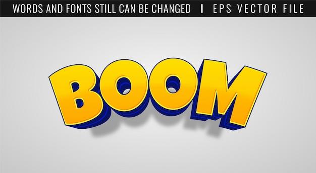 Texteffekt des 3d-boom-spiels. comic-stil