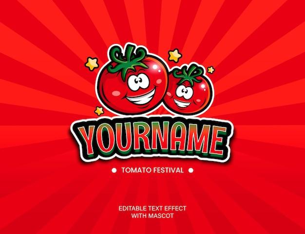 Texteffekt des tomatenfestiva-themas mit maskottchen