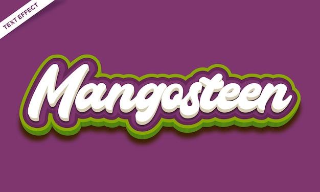 Texteffekt-design mit frischen früchten mangostan
