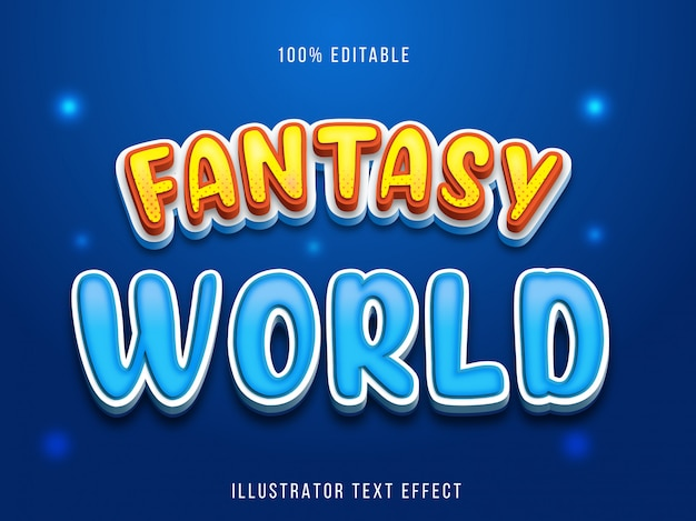 Texteffekt editierbar - blue fantasy-titelstil