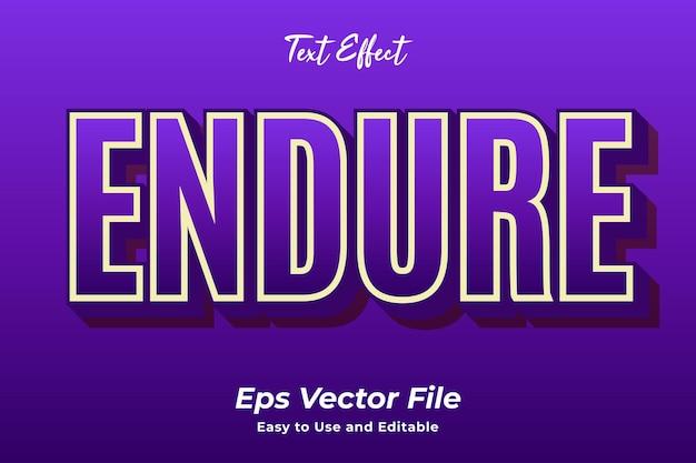 Texteffekt endure einfach zu bedienen und bearbeitbar premium-vektor