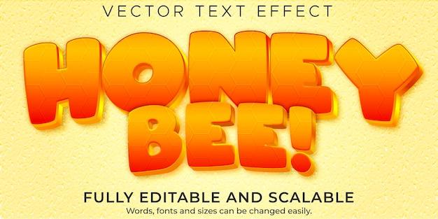 Texteffekt für honignahrung; bearbeitbarer organischer und süßer textstil