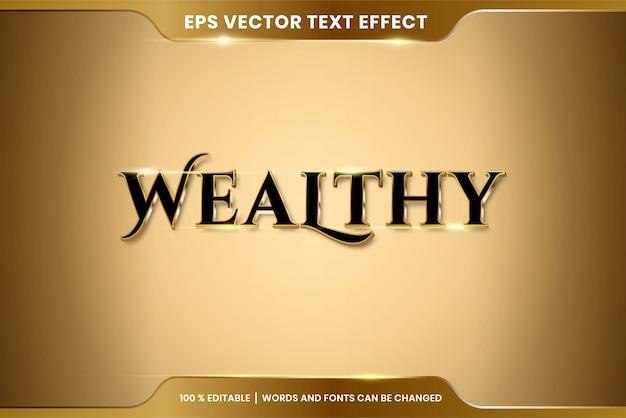 Texteffekt im text-effekt-thema der wohlhabenden wörter bearbeitbares metallgoldfarbkonzept