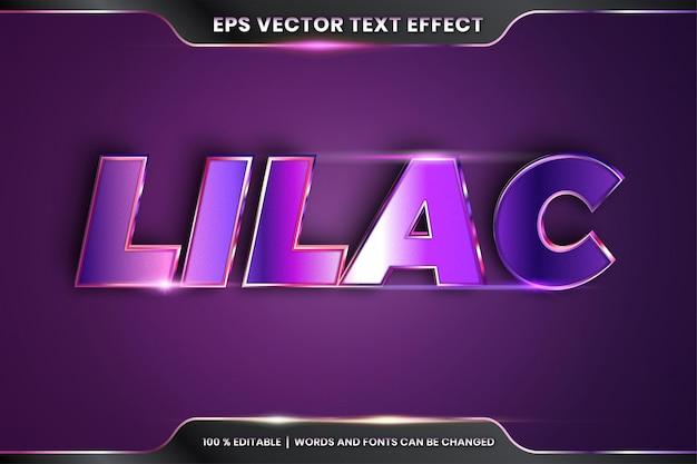 Texteffekt in 3d lila wörtern texteffektthema editierbares realistisches metallgradientenpurpur-farbkonzept