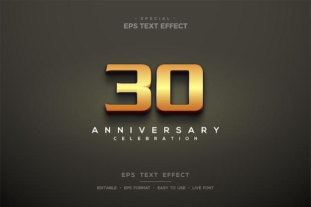 Texteffekt mit realistischen 3d-zahlen im 30-jährigen jubiläum