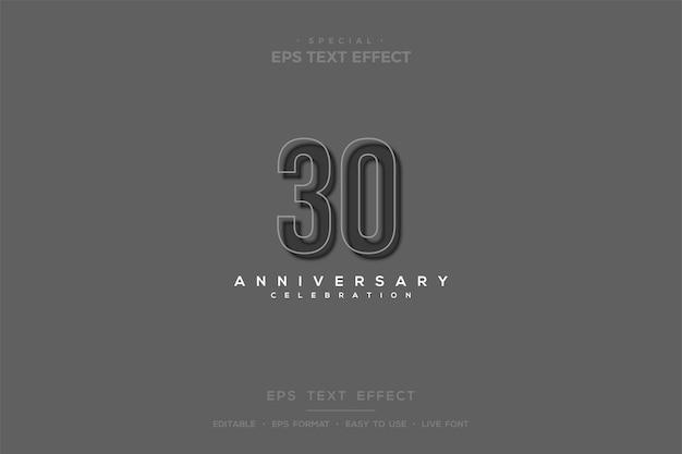 Texteffekt mit weichen 3d-zahlen im 30-jährigen jubiläum