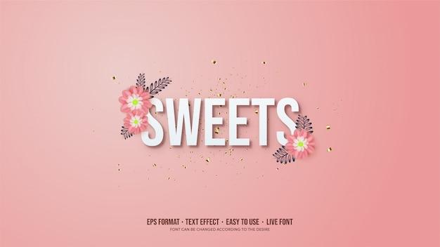 Texteffekt mit weißen textillustrationen mit rosa blumen.