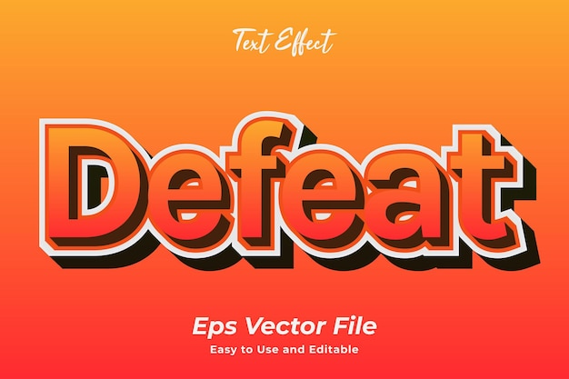 Texteffekt niederlage einfach zu bedienen und bearbeitbar premium-vektor