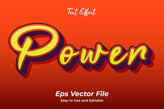 Texteffekt power editierbar und einfach zu bedienen premium-vektor