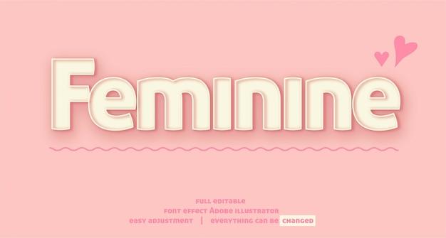 Texteffekt-schablonenvektor, einfach editierbar und fertigen besonders an, bunt, einfach und elegant, nett und weiblich