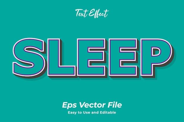 Texteffekt schlaf editierbar und einfach zu verwenden premium-vektor