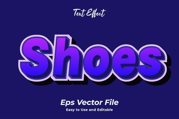 Texteffekt schuhe einfach zu bedienen und editierbar premium-vektor