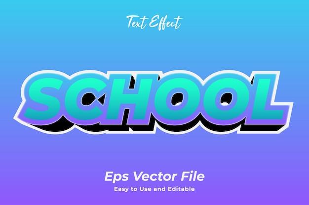 Texteffekt schule editierbar und einfach zu verwenden premium-vektor