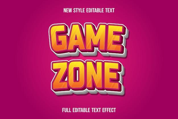 Texteffekt-spielzone auf gelbem und rosa farbverlauf
