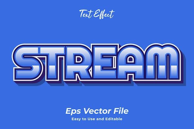 Texteffekt stream bearbeitbar und einfach zu verwenden premium-vektor