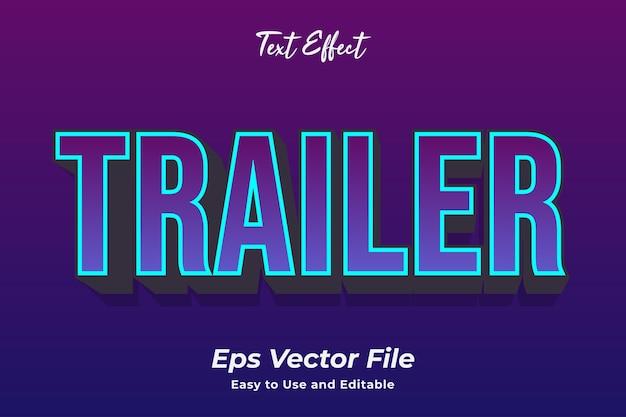 Texteffekt-trailer bearbeitbar und einfach zu verwenden premium-vektor